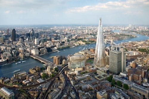 Aerial view of London's Shard