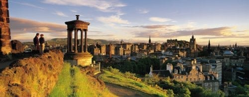 View of Edinburgh during sunset