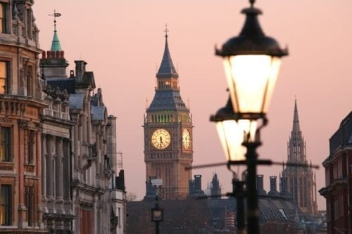 View of Big Ben at dawn in London