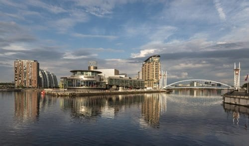 View of Salford Quays in Manchester