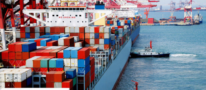Loading containers onto a ship for international shipping
