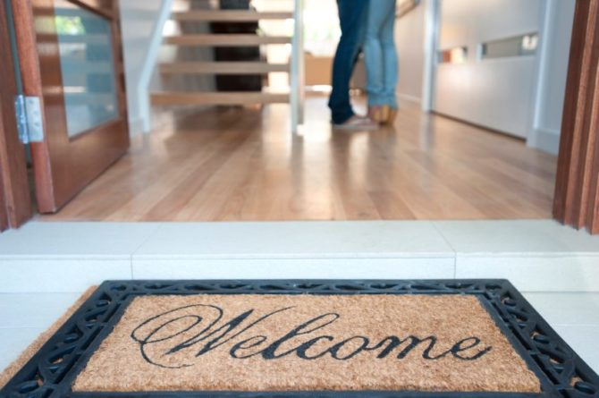 Welcome mat for a new house