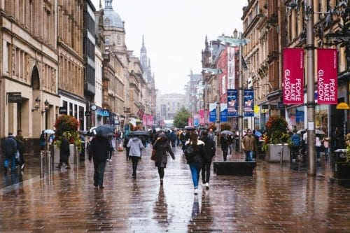 Glasgow rainy shopping street