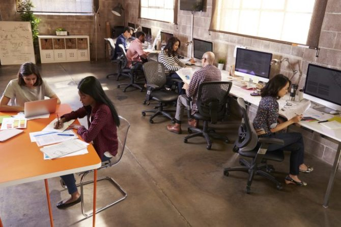 People working in a modern office
