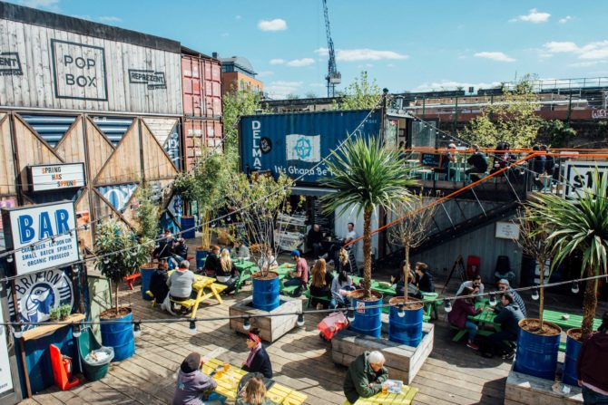 Courtyard bar in Brixton; house removals London
