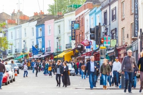 Portobello Road Market in Notting Hill; house removals London